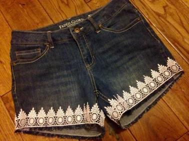 DIY refashioned denim shorts