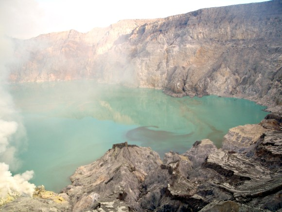 Top of the mountain at the crater where people mined sulfur
