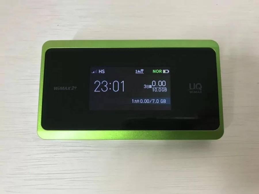 WiMAX WX06の電源を投入した所
