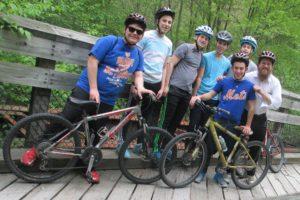 Jewish summer camp group biking