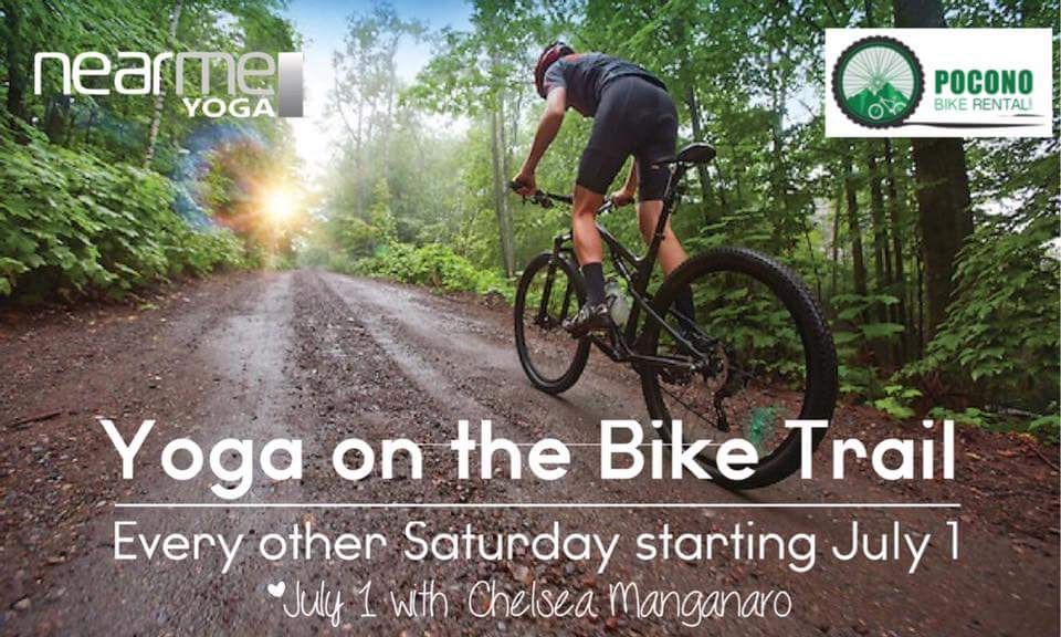Yoga on the Bike Trail in the Poconos with Nearme Yoga and Pocono Bike Rental