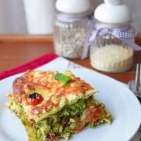 Lasagne z groszkiem, brokułem i pesto