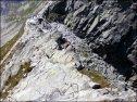 Orla Perć - spojrzenie z podejścia na Mały Kozi Wierch, widoczna przełęcz Zawrat - 29 lipca 2013