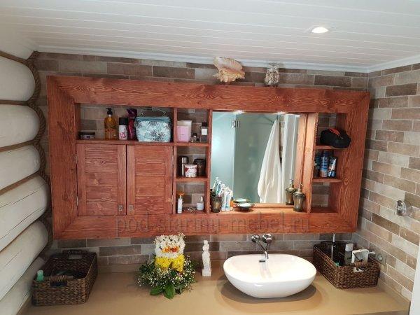 Навесной шкафчик для ванной из массива сосны в стиле лофт