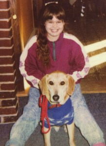 My dog and I sometime in the early 1990s. Before podcasts were a thing!