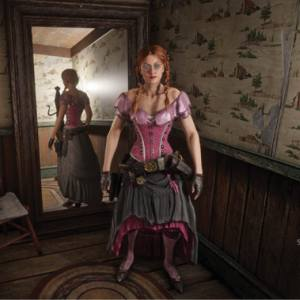 Red Dead Redemption screenshot of character in a pink corset and ruffled skirt