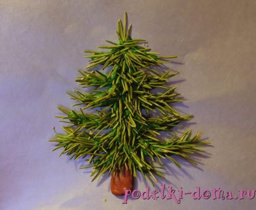 Plastilin und Nadeln Weihnachtsbaum