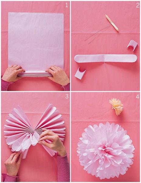 пышный цветок из бумаги