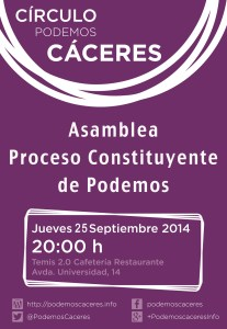 Asamblea en Cáceres sobre el  Proceso Constituyente de Podemos 2