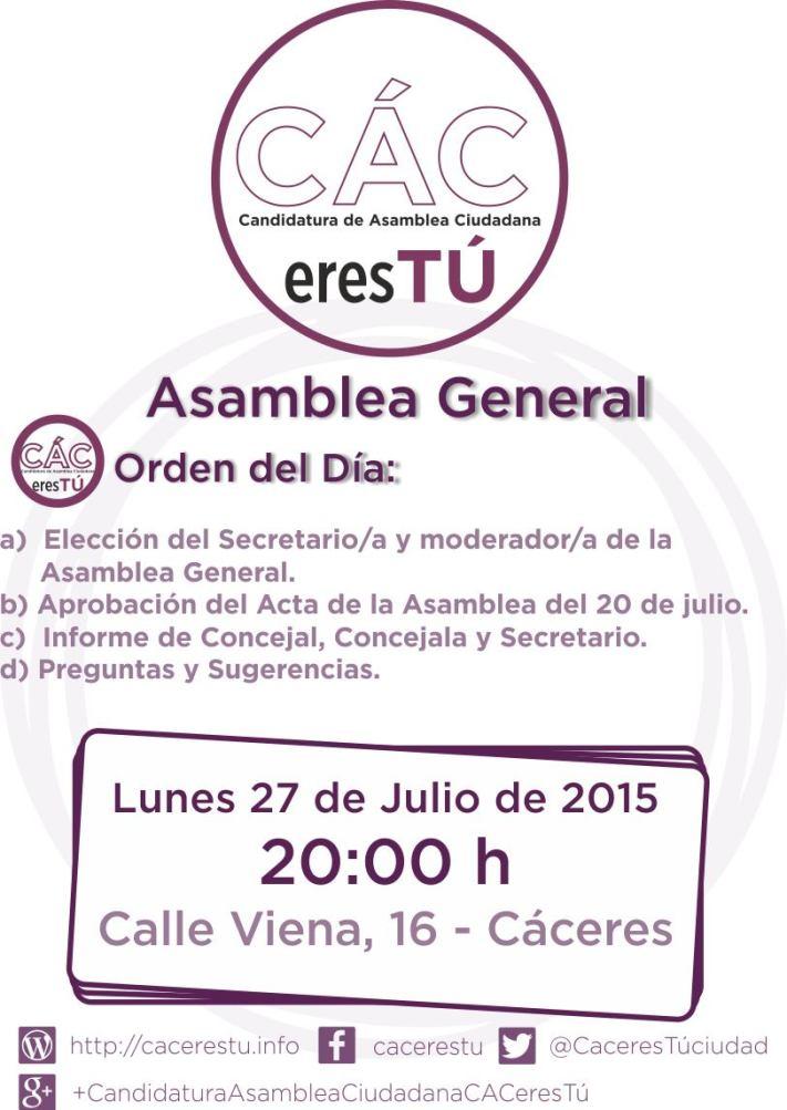 Convocatoria asamblea 27 de julio