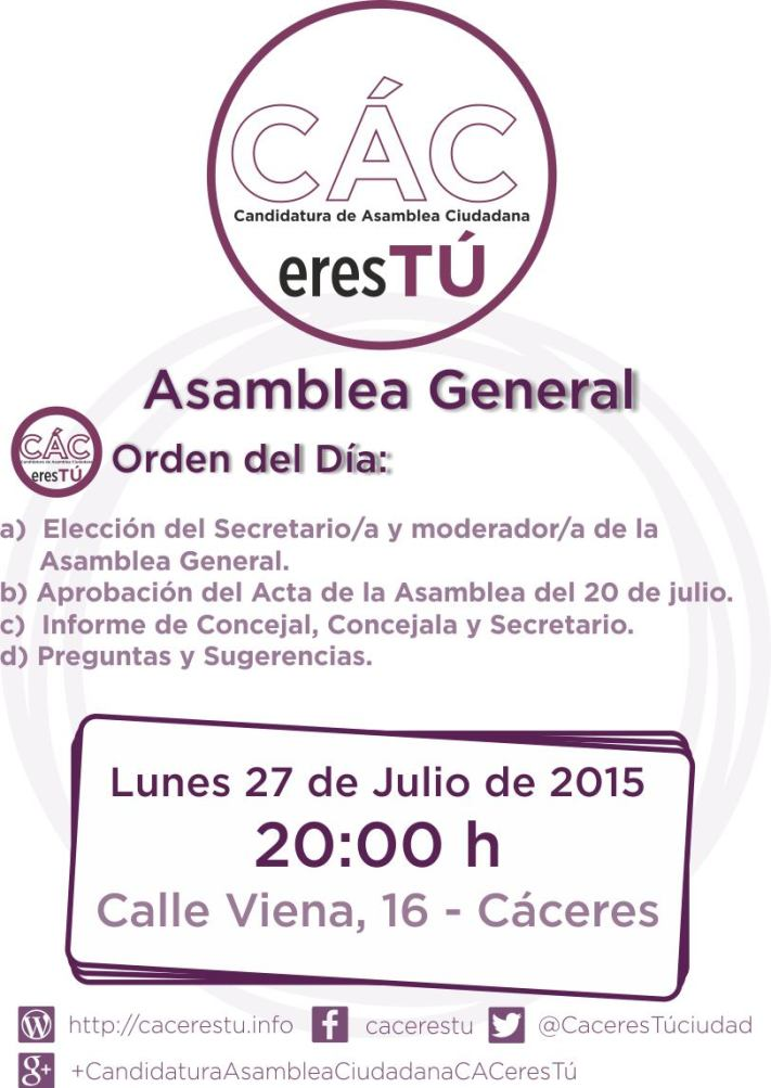 Convocatoria asamblea 27 de julio