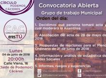 Asamblea del Grupo Municipal de CACereTú de 4 de junio