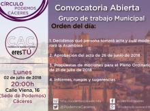 Cartel Asamblea CACeresTú de 2 de julio de 2018