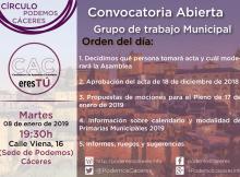 Asamblea CACeresTú de 08 de enero de 2019