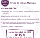 cartel de grupo municipal de asamblea de 08 de abril de 2019