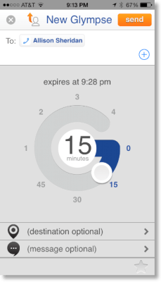 screen showing how you enter the time for the glimpse to last