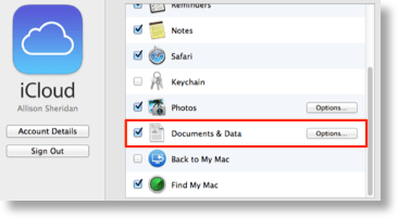 turning on documents and data in iCloud in System Preferences