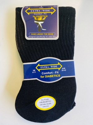 3 Pairs of Extra Wide (Comfort Fit) socks for Diabetics (size 6 – 11)