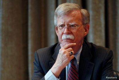 FILE - U.S. National Security Advisor, John Bolton, meets with journalists during a visit to London, Britain.