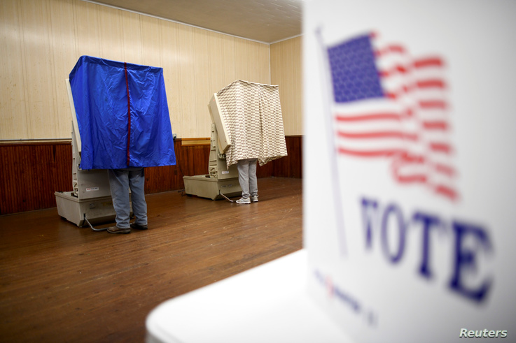 Voters cast their ballots in state and local elections at Pillow Boro Hall in Pillow, Pennsylvania, Nov. 5, 2019.