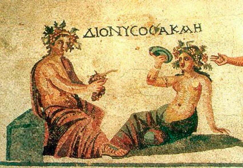Dionizos i nimfa Akme - mozaikowa posadzka pochodząca z Domu Dionizosa na Pafos (Cypr)