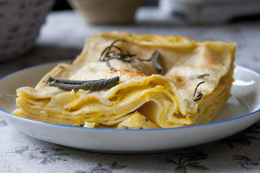 lasagne z dynią i rozmarynem