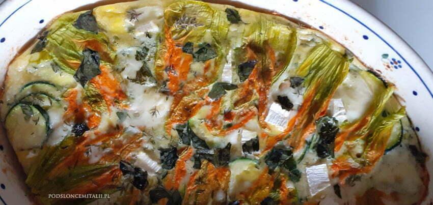 Frittata z kwiatami cukinii z piekarnika