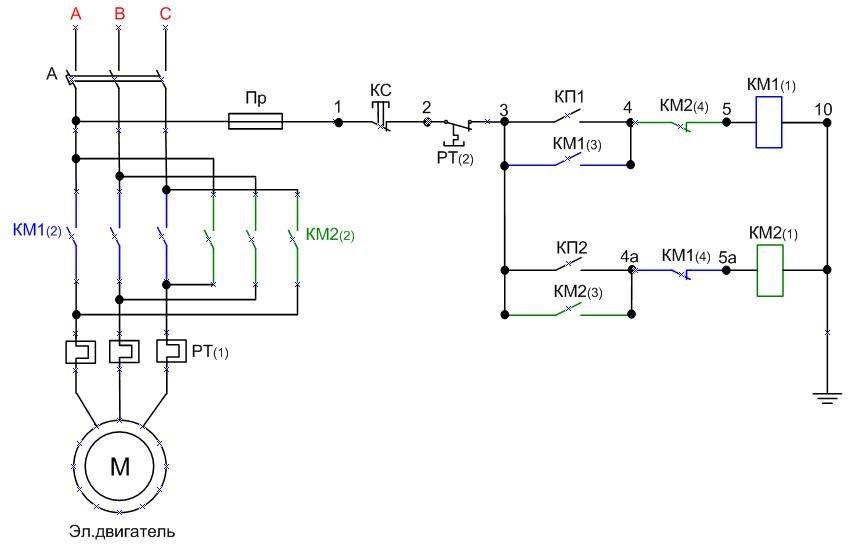 Схема подключения электродвигателя через фото 323