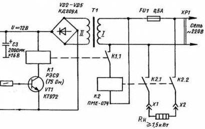Схема подключения ТЭНов через термореле и пускатель