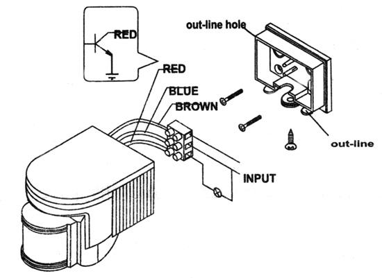 Монтаж и подключение светильника,с датчиком движения