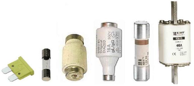 Виды электрических предохранителей