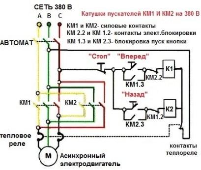 Схема для реверса асинхронного двигателя двумя магнитными пускателями