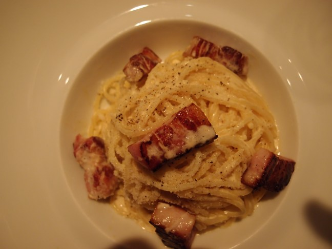 Spaghetti carbonara at  L'Atelier de Joel Robuchon, Paris