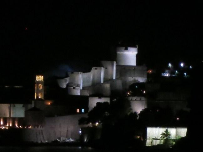Dubrovnik walls at night