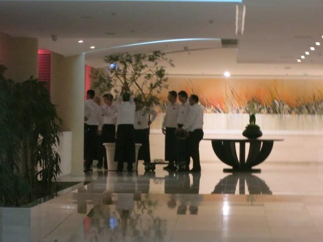 Tree wrangling in the Le Meridien hotel lobby in Croatia