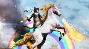 cat on a unicorn with lasers