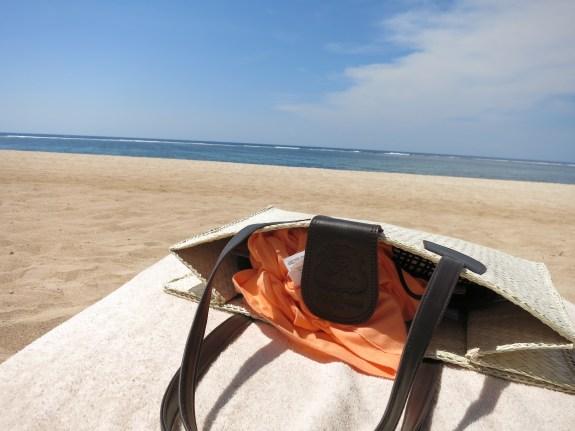 St. Regis supplied beach bag and the pristine beach.