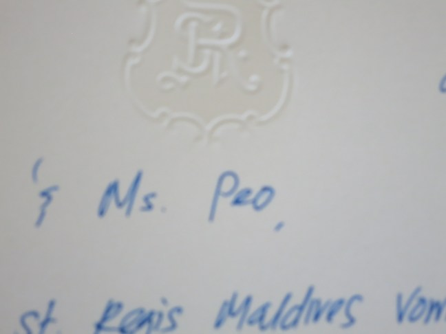 St. Regis Maldives welcome note for Ms Peo
