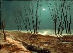 Paysage d'hiver sous la lune