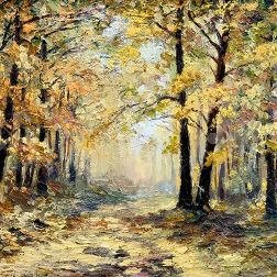 oil painting landscape - autumn forest, full of fallen leaves, colorful picture , abstract drawing, wallpaper; tree; decoration