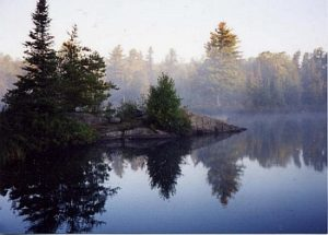 Island Lake in fog