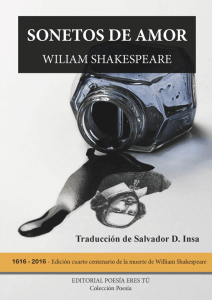 Sonetos de amor de William Shakespeare SONETOS DE AMOR. WILLIAM SHAKESPEARE