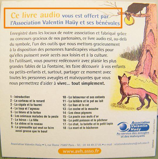 CD Promo Offert Par LAssociation Valentin HAY Fables