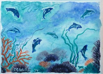 Playful Dolphins mixed media