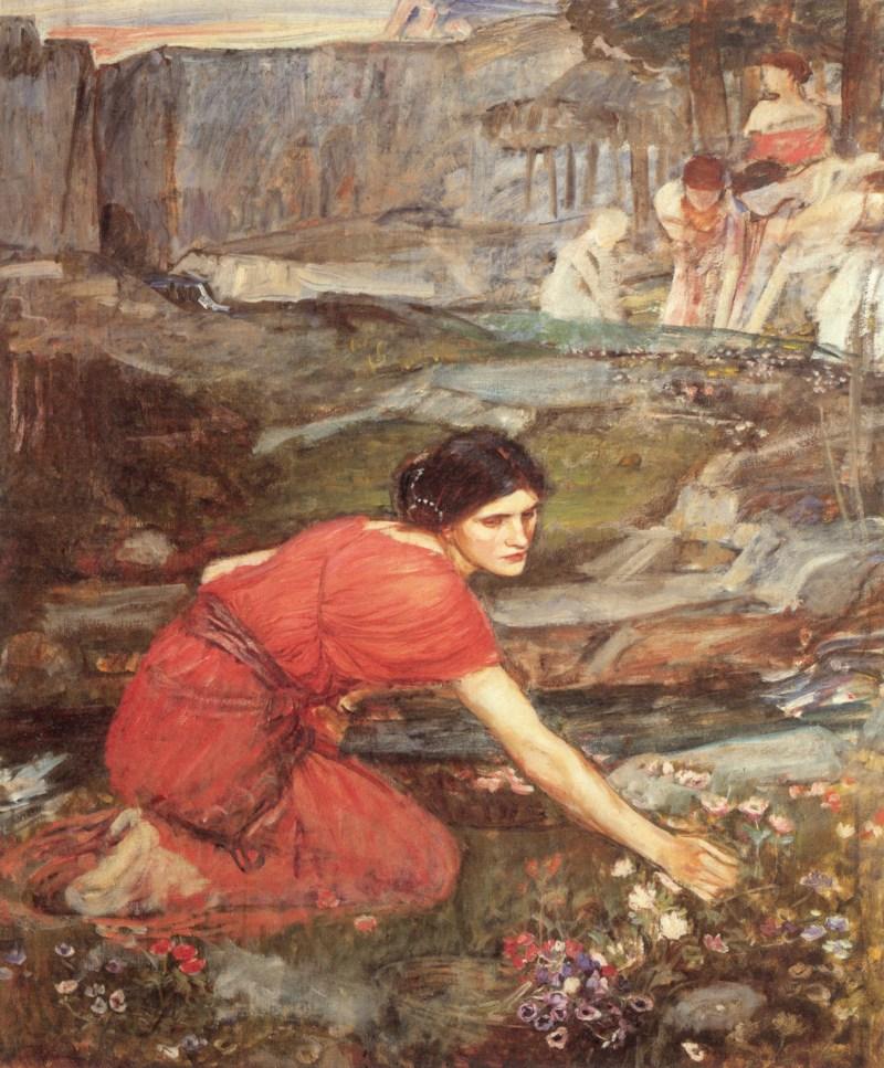 Maidens Picking Flowers by the Stream john william waterhouse