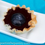 Mini phyllo dough tart shell filled with chocolate sauce, with a blueberry on top
