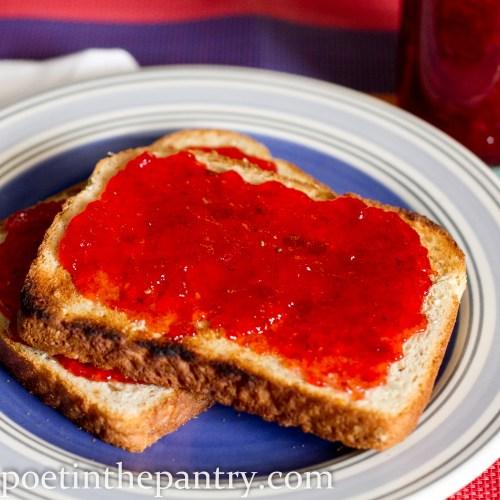 strawberry vanilla bean jam slathered on toast
