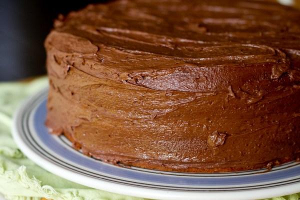 yellow confetti cake with chocolate malt buttercream