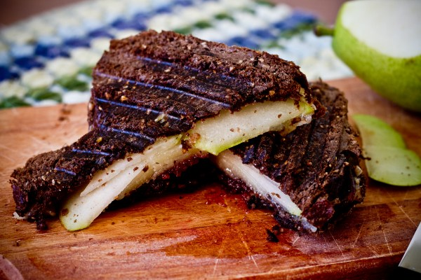 Grilled Manchego Cheese with Quince Paste, Pears, and Walnut Butter