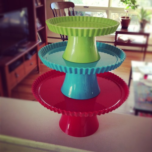 colorful cake plate tower - poet in the pantry